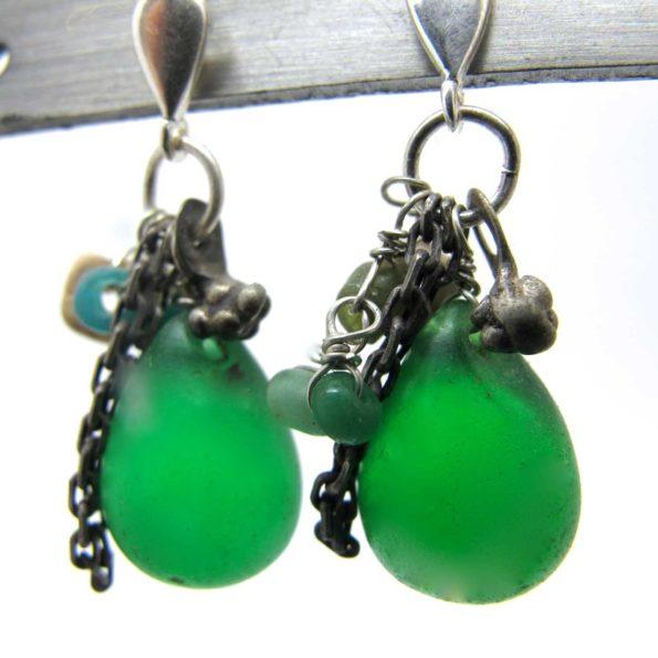 Boucles d'oreilles pampilles vertes